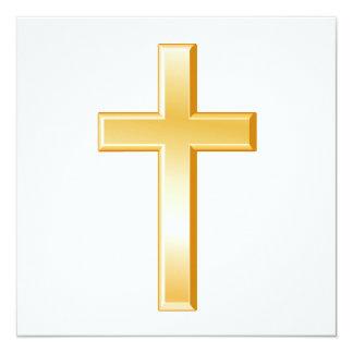 Símbolo transversal cristão convite quadrado 13.35 x 13.35cm