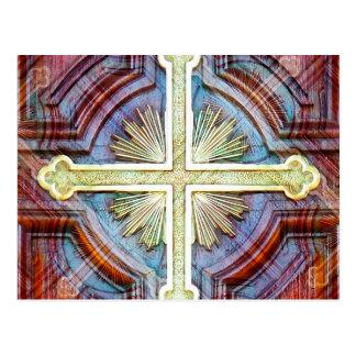 Símbolo transversal cristão religioso cartao postal