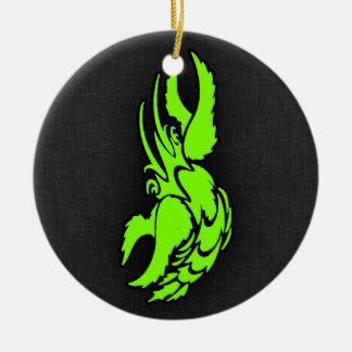 Símbolo verde Chartreuse, de néon do zodíaco do Ornamento De Cerâmica Redondo