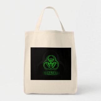 Símbolo verde de incandescência do Biohazard Sacola Tote De Mercado