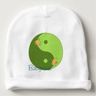 Símbolo verde floral de Taijitu Yin Yang Gorro Para Bebê