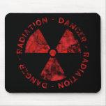 Símbolo vermelho afligido Mousepad da radiação