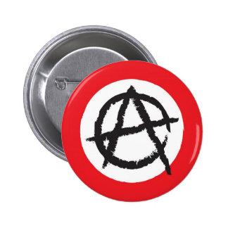 Símbolo vermelho, branco & preto do sinal da bande bóton redondo 5.08cm