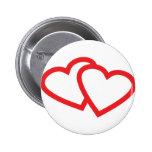 símbolo vermelho de dois corações boton