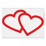 símbolo vermelho de dois corações cartao