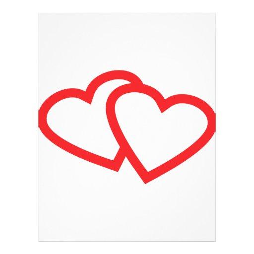 símbolo vermelho de dois corações panfletos coloridos