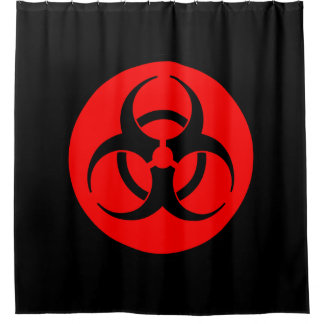 Símbolo vermelho do Biohazard Cortina Para Box