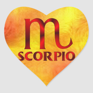 Símbolo vermelho do horóscopo da Escorpião Adesivo Em Forma De Coração