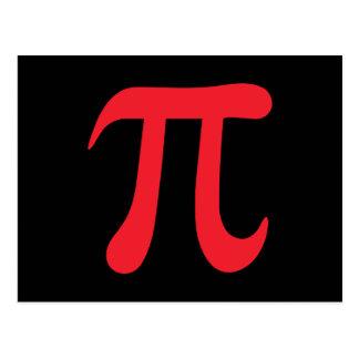 Símbolo vermelho do pi no fundo preto cartões postais