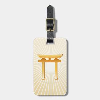 Símbolo xintoísmo etiqueta de bagagem