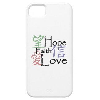 Símbolos chineses para o amor, a esperança e a fé capa barely there para iPhone 5