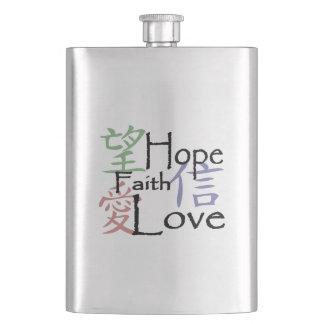 Símbolos chineses para o amor, a esperança e a fé porta bebidas