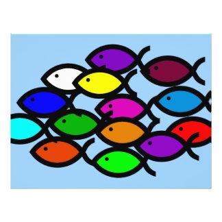 Símbolos cristãos dos peixes - escola do arco-íris flyer 21.59 x 27.94cm