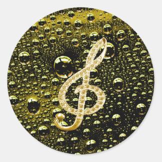 Símbolos de Glef da música com fundo da gota da Adesivo