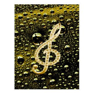 Símbolos de Glef da música com fundo da gota da Cartão Postal