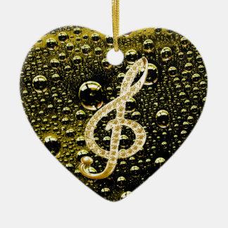 Símbolos de Glef da música com fundo da gota da ch Ornamento