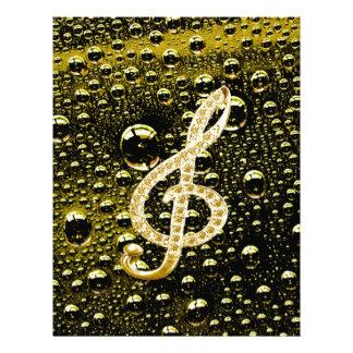 Símbolos de Glef da música com fundo da gota da ch Papéis De Carta Personalizados