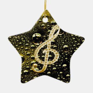 Símbolos de Glef da música com fundo da gota da Ornamento De Cerâmica Estrela