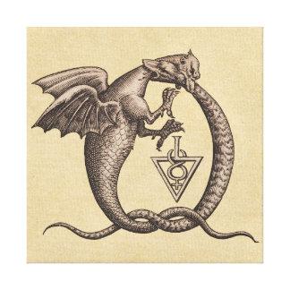 Símbolos de Mercury do enxofre do cobra do dragão Impressão Em Tela