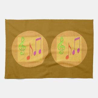 Símbolos de música baixos dourados da dança toalhas de mão