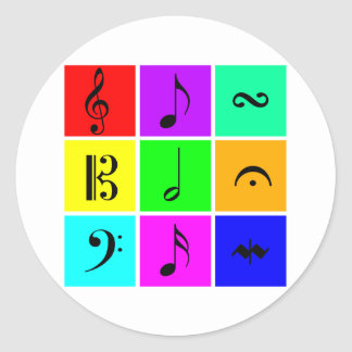 símbolos de música brilhantes adesivos redondos