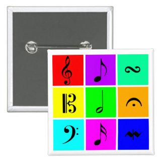 símbolos de música brilhantes bóton quadrado 5.08cm