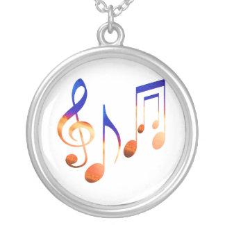 Símbolos de música da dança colar com pendente redondo