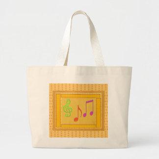 Símbolos de música da dança na folha de OURO Sacola Tote Jumbo