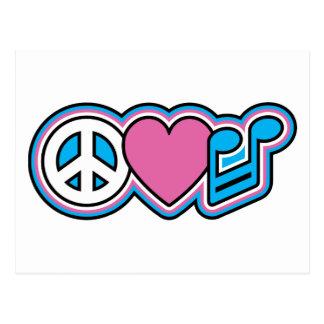 Símbolos de MÚSICA de PEACE-LOVE Cartoes Postais