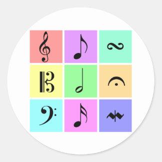 símbolos de música pastel adesivos em formato redondos