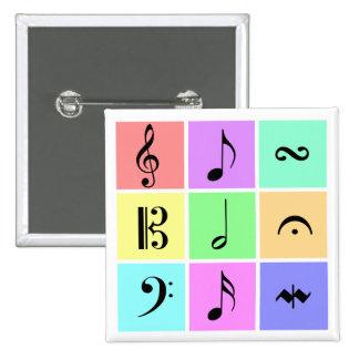 símbolos de música pastel bóton quadrado 5.08cm