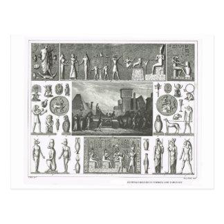Símbolos religiosos egípcios cartão postal
