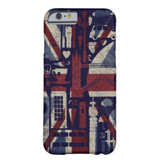 Símbolos retros de Londres do amor de Union Jack Capa Barely There Para iPhone 6