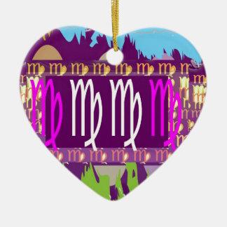 Símbolos roxos santamente do zodíaco do VIRGO Enfeites Para Arvore De Natal