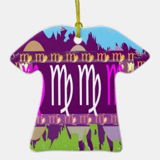 Símbolos roxos santamente do zodíaco do VIRGO Ornamento De Cerâmica Camiseta