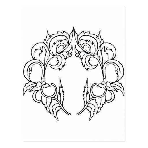 simetria, moldura para retrato, salgueiro cartões postais