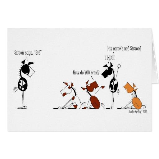Simon engraçado diz desenhos animados cartão comemorativo