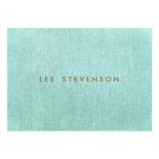 Simples, azul de turquesa, olhar de linho, cartão de visita grande