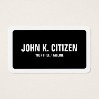 Simples corajoso preto & branco arredondado cartão de visitas