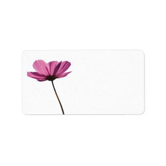 Simples pink flower rótulo etiqueta de endereço