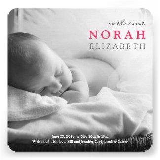 Simplesmente anúncio do bebê da boa vinda convite personalizado