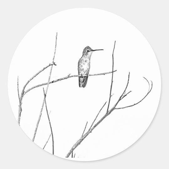 Simplesmente um colibri em uma vara adesivo redondo