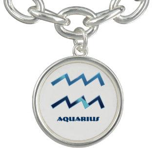 Sinais azuis do zodíaco do Aquário no branco Braceletes Com Pingentes