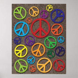 Sinais coloridos dos símbolos de paz no fundo do G Impressão