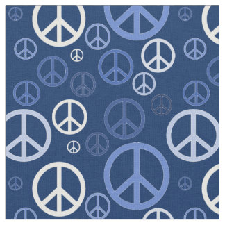 Sinais de paz dispersados SPST azul Tecido