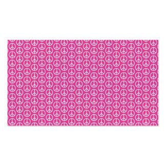 Sinais de paz no rosa brilhante cartão de visita