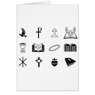 Sinais e símbolos religiosos cristãos cartao