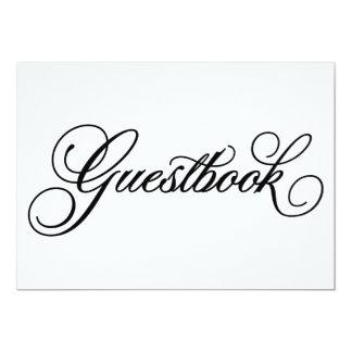 Sinal clássico do casamento do Guestbook de | Convite 12.7 X 17.78cm