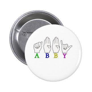 SINAL CONHECIDO DE ABBY ASL FINGERSPELLED BÓTON REDONDO 5.08CM