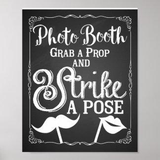 Sinal da cabine da foto do selfie do casamento pôster
